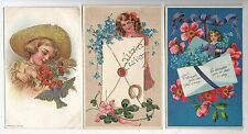 Group of 7 Friendship Greetings with Children Antique Postcards N4199