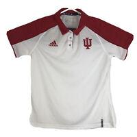 Womens L Adidas Indiana Hoosiers Golf Polo Shirt IU White & Red Climalite NCAA