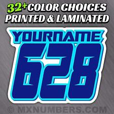MX Number & Name Plate Decals Sticker Sliced Style Race ATV SX Dirt Bike Kart YZ