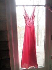 "VTG Olga Pink Sheer Lace Bodice FULL Sweep BODYSILK Nightgown 32"" Bust no Tag Qi"