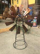 Spinning Metal Windmill Garden Stand Yard Art Mexican Landscape Outdoor Decor