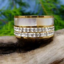Mother of Pearl Gold CZ Stainless Steel Ring