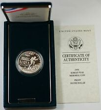 1991 Korean War Memorial Proof Silver Dollar Commemorative Coin in OGP