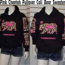 Cali Pullover Sweater Hoodie,Pink Cheetah/ Leopard w/California Republic Arms M