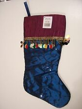 FANCY TURQUOIS & PINK SILK CHRISTMAS STOCKING WITH BEADS AND SEQUINS DECORATION