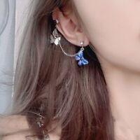 Charm Butterfly Insect Crystal Earrings Dangle Drop Ear Clip Women Jewelry Gifts