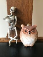 Fab New Skeleton Holding Glass Tube and Sparkly Owl Ornaments,Halloween Fun,Boo!