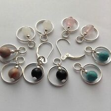5 Pairs stone SP Earring charms, 2 Sterling Silver Interchangeable Leverback new