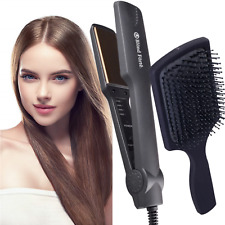 BlondForte 1.5 Inch Pro Hair Straightener Ceramic Ionic Flat Iron + Paddle Brush