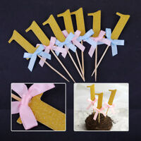10pcs Boy Girl 1st Birthday Cake Cupcake Toppers Baby Shower Party Decoration
