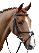 HKM Mexican Bridle Padded Grackle Noseband Black or Brown With Reins Hand Sewn