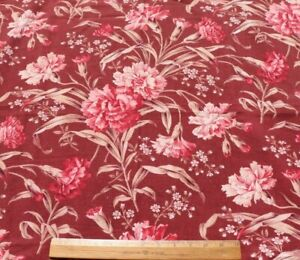 """Lovely Antique French Floral Cotton Fabric c1870~Madder Ground~L-39"""" x W-32"""""""