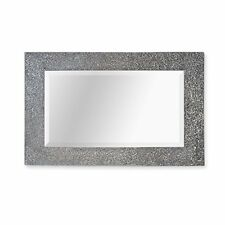Silver Mosaic Wall Mirror Crackle Effect Bevelled Mirror. Round or Square. Square 60 X 90 Cm