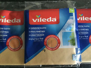 VILEDA ORIGINAL WINDOW AND GLASS CLOTH, For Streak Free Windows, Reusable. New!