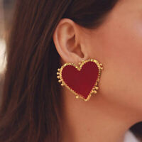 Women Fashion Big Red Peach Heart Earrings Punk Style Alloy Jewelry for Party