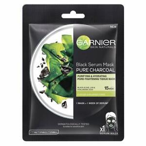 Pack of 3 Garnier Skin Naturals Charcoal Face Serum Sheet Mask Black 28g