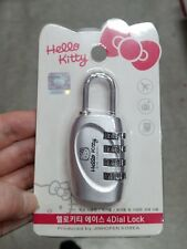 Hello Kitty 4 Dial Numbered Lock Key Travel Bag Locker Post Security Padlock