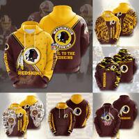 Washington Redskins Hoodies Football Sweatshirt Casual Jacket Pullover Fans Gift