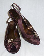 John Lewis-Borgoña satén Diamonte Noche Zapatos - 5 (g1832)