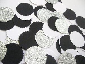 "Confetti 1"" Paper Circles Black White Silver Wedding Birthday Party Decor"
