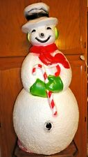 "40"" UNION SNOWMAN CANDY CANE CHRISTMAS BLOW MOLD LIGHT UP YARD DECOR LAWN ART"