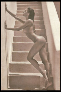 Risqe Pinup Sexy Woman vintage Rare Antique Retro on the stairs Photo 4x6 A