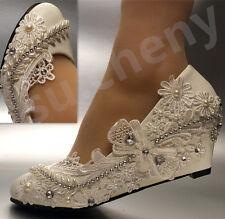 """su.cheny 2"""" wedges Lace white ivory bow pearls rhinestone Wedding Bridal shoes"""