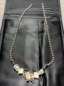 Signed Modernist Sterling Silver Fire Opal Moonstone Amethyst Artisan Necklace