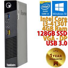 PC MINI COMPUTER DESKTOP RICONDIZIONATO LENOVO M73 CORE i3-4130T RAM 4GB SSD 128