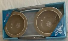New listing Petrageous Designs Toftees Paws Feeder Taupe Pet Ceramic Food Bowls w/Stand New