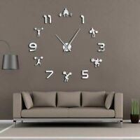 Weightlifting Fitness Diy Large Wall Clock Mirror Frameless Gym Watch Clocks