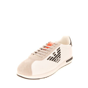 RRP €180 EMPORIO ARMANI Leather Sneakers EU 44 UK 9 US 10 Suede Trim Lace Up