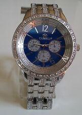 Men's big hip hop silver finish blue dial fashion dressy/casual watch