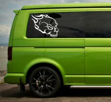 vw Volkswagen camper t4 t5 panel / window skull flames vinyl sticker decals x2