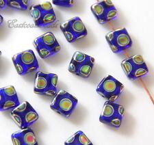 Square Tile Beads, 6x6mm, Cobalt w/Peacock Finish, Czech Beads, 20 Pcs