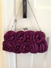Purple Rosette Framed  Evening Bag Silver Coloured / Chain & crystal top Clasp