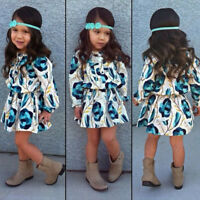 Toddler Kids Baby Girl Winter Floral Dress Long Sleeve Party Dress Skirt Clothes