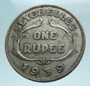 1939 SEYCHELLES Archipelago Genuine King George VI Big SILVER RUPEE Coin i78658