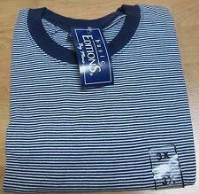 Basic Editions Stripe T-Shirt 3XL Big Men 50/50 Cot/Poly Whit/Navy Vintage