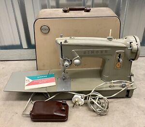 Singer 329K Vintage Sewing Machine With Carry Case, Instructions & Pedal Working