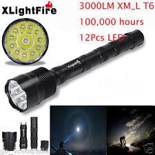 Xlightfire 30000 Lumens 12x XML T6 5 Mode 18650 Super Bright LED Flashlight