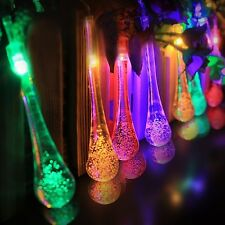 SOLAR Garden LIGHTS STRING FAIRY Multi Color 20 LED Icicle Ball Waterproof Globe