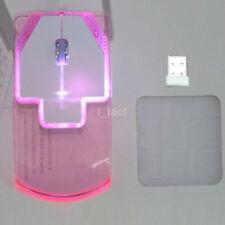 Creative LED Wireless Mouse Transparent 4 Color For Laptop Computer PC US