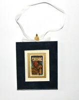 McGruff Crime Dog Hand Crafted Velvet Framed USA Stamp Christmas Tree Ornament