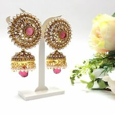 Indian Asian Bridal Jewellery Bollywood Party Ethnic Wear Polki Jhumka Earrings