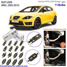 11 Bulbs Deluxe LED Interior Dome Light Kit White For MK2 2005-2012 SEAT LEON