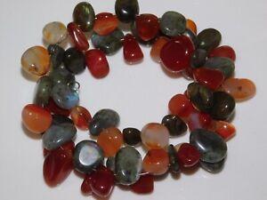 Chunky Agate Labradorite Carnelian Memory Wire Wrap style Bracelet Ca 10