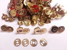 50 Sets of GOLD14mm Magnetic Fastener Snaps Clasps  Bags Craft Sewing Buttons