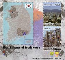 Sierra Leone 2014 MNH Sites & Scenes South Korea 2v S/S Philakorea Goyang