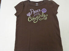 GYMBOREE  COWGIRLS AT HEART BROWN EMBROIDERED PEACE LOVE COWGIRLS SHIRT    7